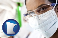 minnesota map icon and an environmental testing lab technician