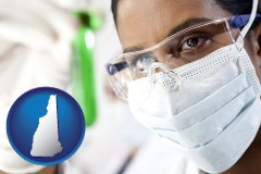new-hampshire map icon and an environmental testing lab technician