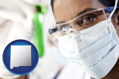 new-mexico map icon and an environmental testing lab technician