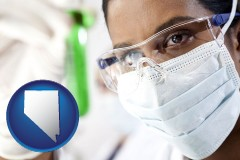 nevada map icon and an environmental testing lab technician