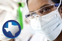 texas map icon and an environmental testing lab technician